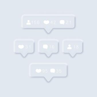 Ícones de notificações de conjuntos de redes sociais