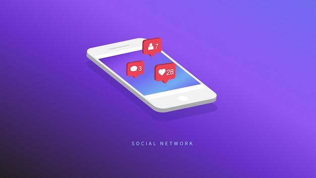 Ícones de notificações de mídia social