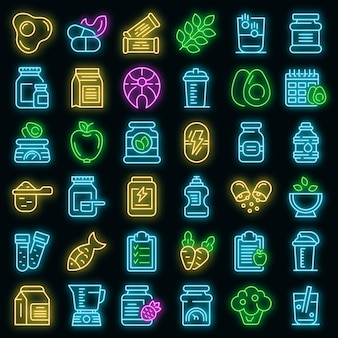 Ícones de nutrição esportiva definir vetor neon