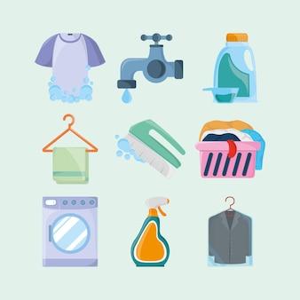 Ícones de objetos de lavanderia