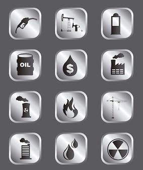 Ícones de óleo sobre ilustração vetorial de fundo cinza