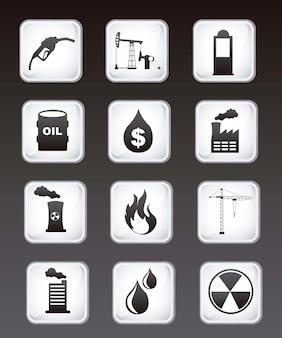 Ícones de óleo sobre ilustração vetorial de fundo preto
