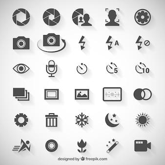 Ícones de opções de câmera