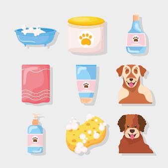 Ícones de pacote com cachorros