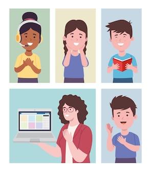Ícones de pacote para aula virtual