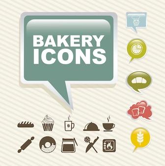 Ícones de padaria sobre ilustração vetorial de fundo vintage