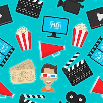 Ícones de padrão de ilustração ajustados cinema, formato eps 10