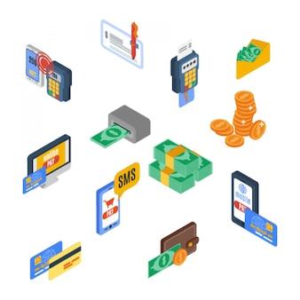 Ícones de pagamento isométricos