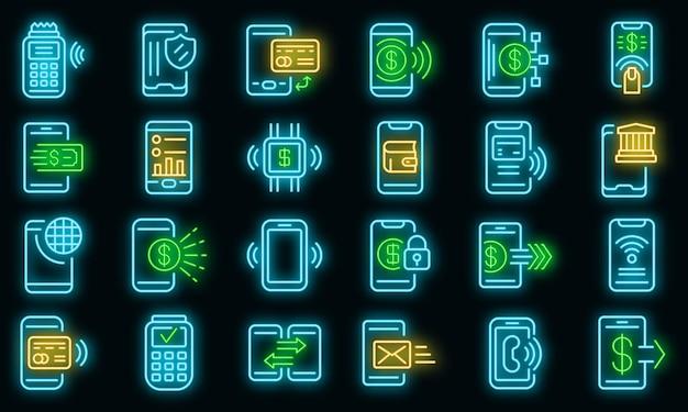 Ícones de pagamento móvel definem vetor neon