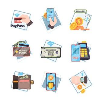 Ícones de pagamento online. nfc inovador transações móveis internet banking cartões dinheiro vetor conceito imagens planas. ilustração de transferência sem contato, transação de processamento de pagamento