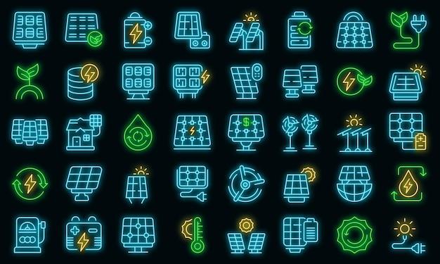 Ícones de painéis solares definir vetor de contorno. energia solar do inversor. painéis de sistema de bateria