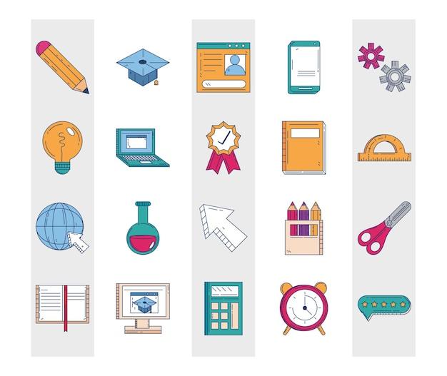 Ícones de papelaria de material escolar de educação