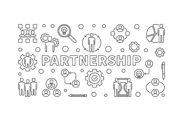 Ícones de parceria no estilo de linha fina