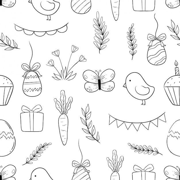 Ícones de páscoa preto e branco no padrão sem emenda com mão desenhada ou estilo doodle