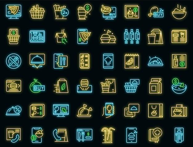 Ícones de pedidos de comida online definem vetor neon