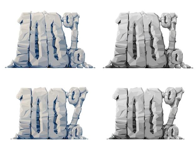 Ícones de pedra cem por cento, etiquetas de desconto, símbolos de oferta de venda para oferta promocional