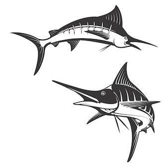 Ícones de peixe marlin.