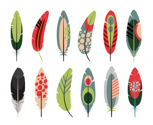 Ícones de penas planas coloridas