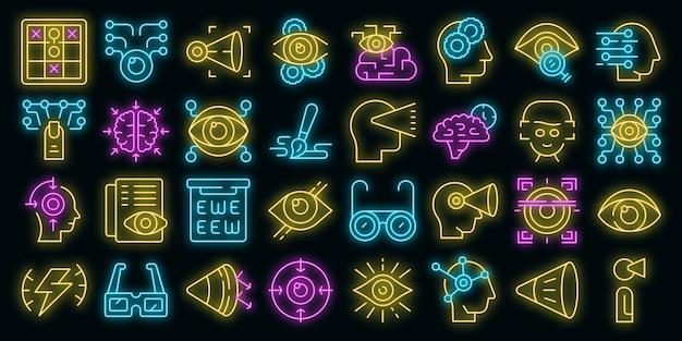 Ícones de percepção visual definem vetor neon
