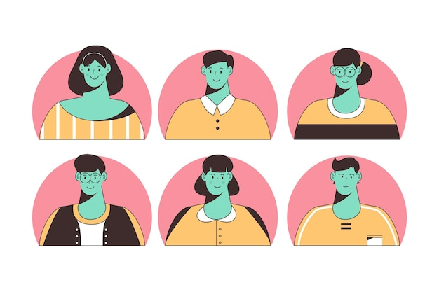 Ícones de perfis diferentes desenhados à mão ilustrados