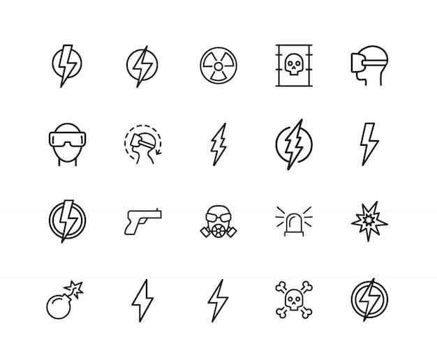 Ícones de perigo. conjunto de ícones de vinte linhas. cuidado, alta tensão, perigo de radiação