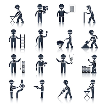 Ícones de personagem de trabalhador de construção pretos