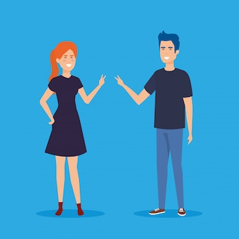 Ícones de personagens de avatar de casal