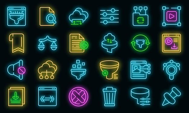 Ícones de pesquisa de filtro definem néon de vetor