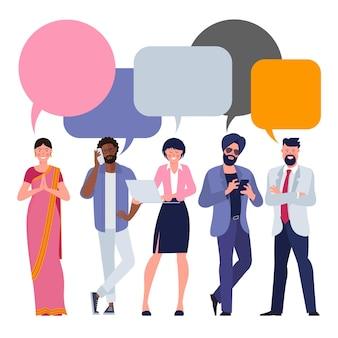 Ícones de pessoas com balões de diálogo coloridos
