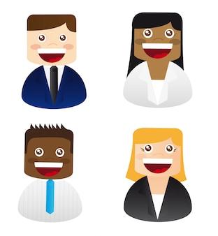 Ícones de pessoas de homens e mulheres sobre vetor de fundo branco