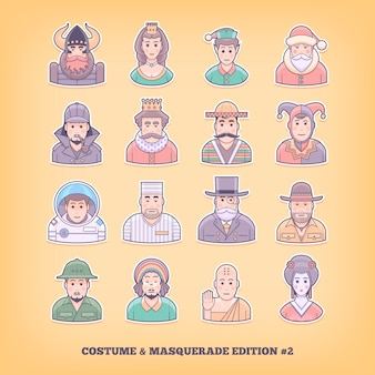 Ícones de pessoas dos desenhos animados. jogo de fantasia, uniforme, elementos do traje de baile. ilustração do conceito.