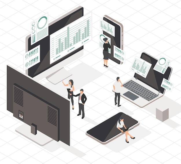 Ícones de pessoas e análises