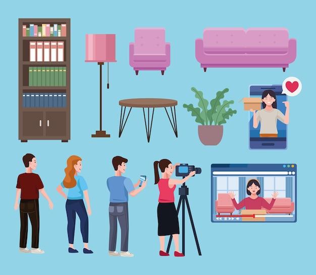 Ícones de pessoas e móveis