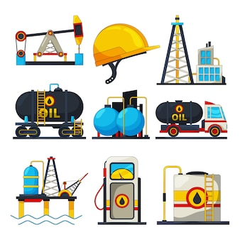 Ícones de petróleo e gás. s isolar em branco