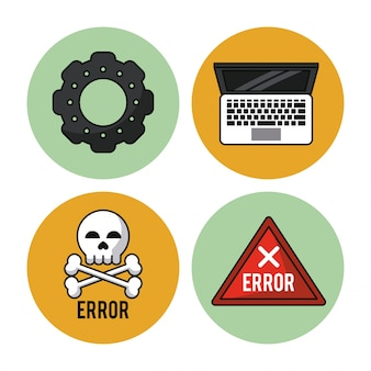 Ícones de pinhão e laptop e erro de ícone e crânio e ossos