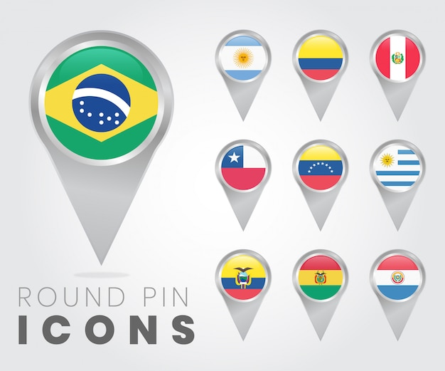 Ícones de pino redondo de bandeiras da américa do sul