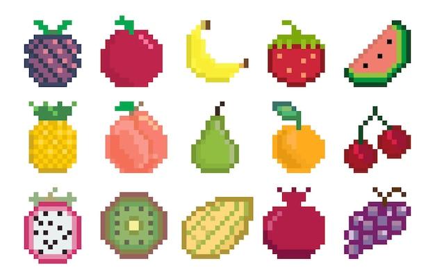 Ícones de pixel de frutas e bagas