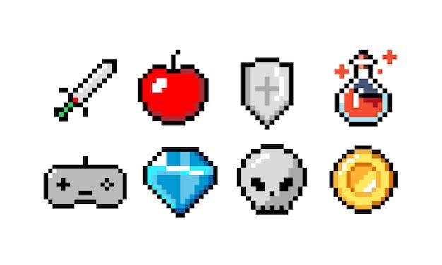 Ícones de pixel ilustração vetorial colorida espada e crânio de bala de canhão e cogumelo de moeda e coração