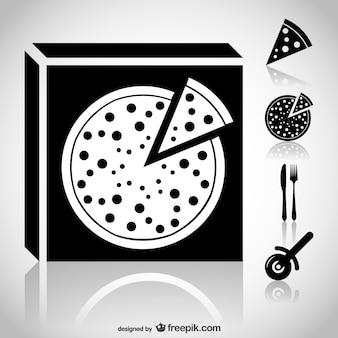 Ícones de pizza set web