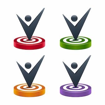 Ícones de placa de alvo com marca de seleção