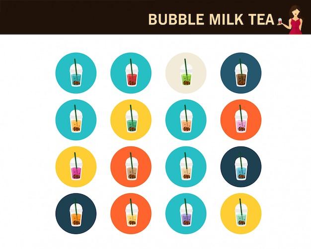 Ícones de plana de conceito de chá de leite de bolha