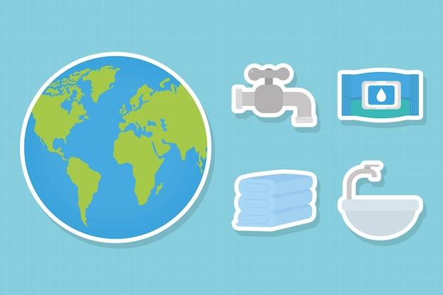 Ícones de planeta e lavagem das mãos