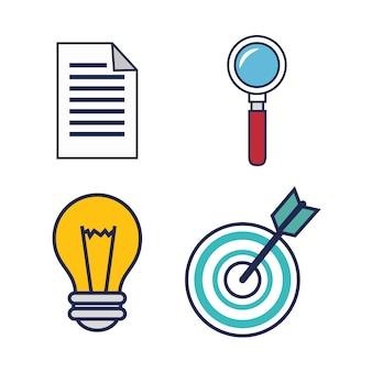 Ícones de plano de equipamento de trabalho de escritório