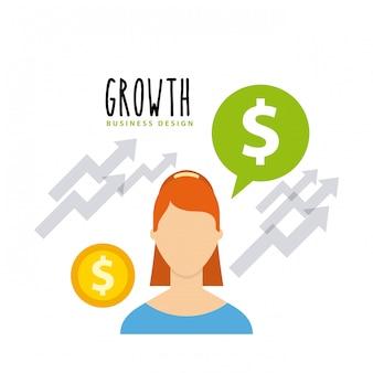Ícones de plano de fundos de crescimento de negócios