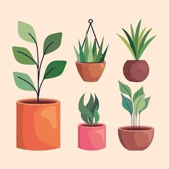 Ícones de plantas dentro de vasos