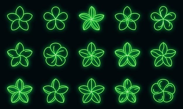 Ícones de plumeria definidos vetor neon