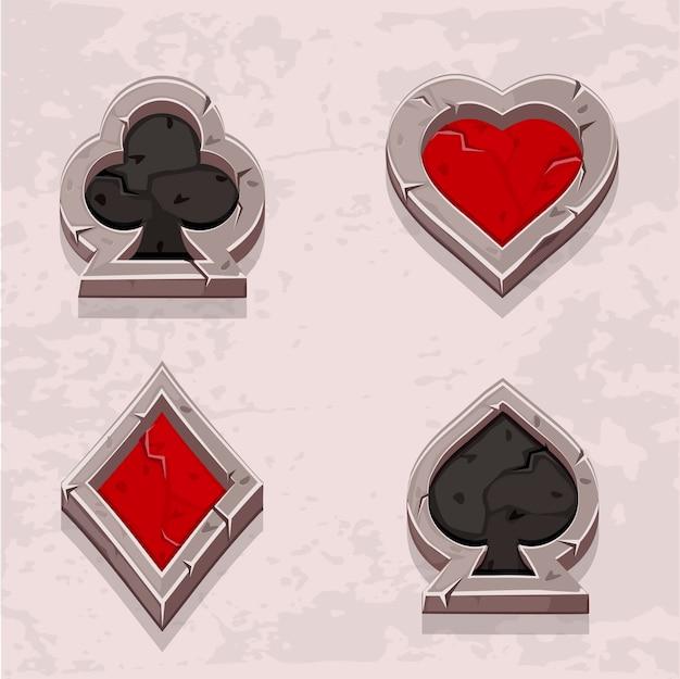 Ícones de poker textura de pedra, naipe de cartão