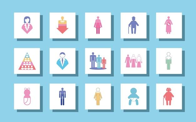 Ícones de população de pictograma