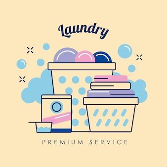 Ícones de pôster de serviço premium de lavanderia