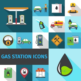 Ícones de posto de gasolina plana